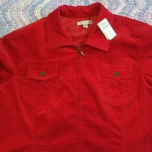 NWT Coldwater Creek Bright Red Velvet Jacket